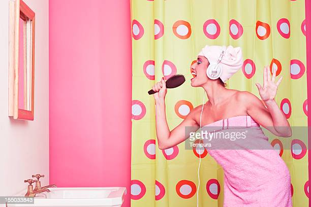 Singing in the bathroom with a hair brush_ humor