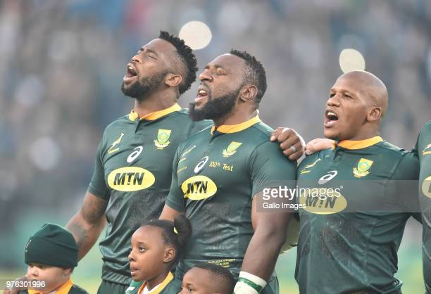 singing of the national anthem during the 2018 Castle Lager Incoming Series match between South Africa and England at Toyota Stadium on June 16 2018...