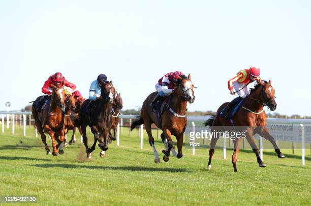 Singing The Blues ridden by Daniel Muscutt wins the Sky Sports Racing Sky 415 Handicap at Bath Racecourse on September 13 2020 in Bath England