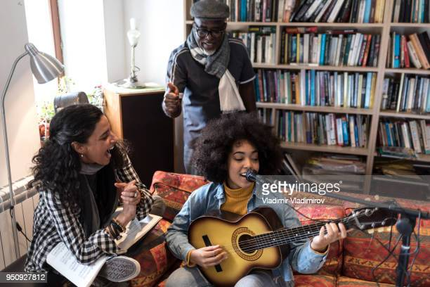 Singing with friends at home