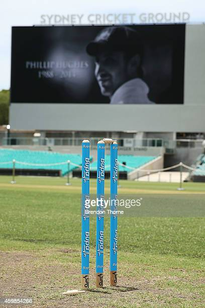 A single bail sits on the ground at the Randwick end of the SCG in rememberance of Phillip Hughes prior to the gathering of people to watch the...