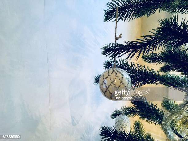 Single bauble on christmas tree