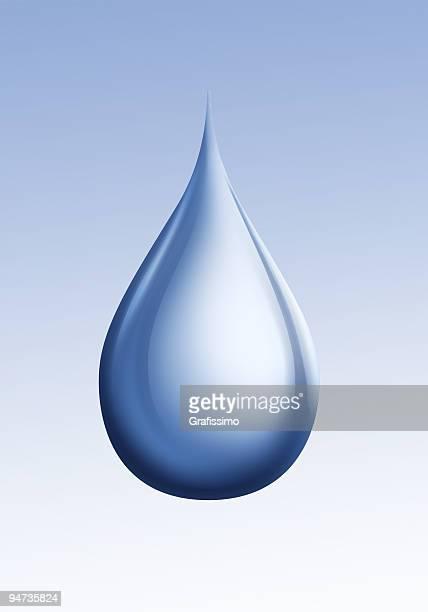 シングル青色ドロップを背景に水の絶縁