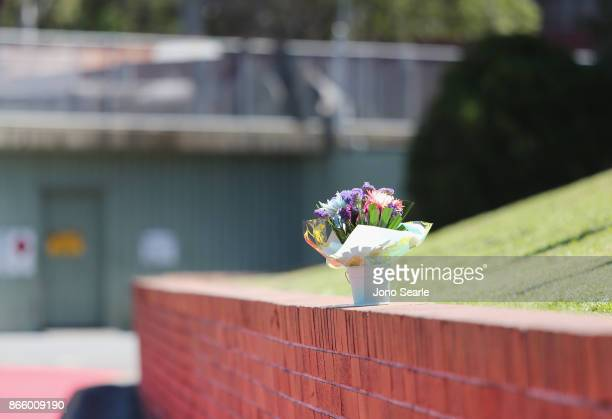 A single bunch of flowers are seen outside the entrance to Dreamworld on October 25 2017 in Gold Coast Australia Four people were killed following an...