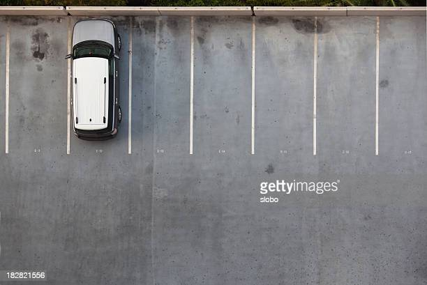 single car on a parking lot - car park stock pictures, royalty-free photos & images