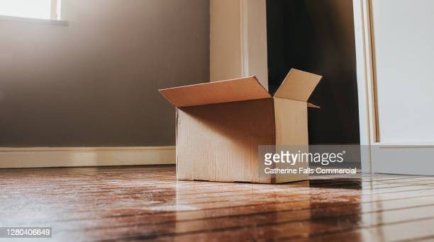 single cardboard box in a sunny room - real estate stock pictures, royalty-free photos & images