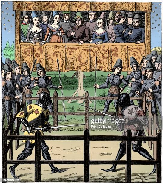 Single combat 15th century A 19th century version of an original 15th century manuscript illustration in Ceremonies des Gages de Bataille held at the...