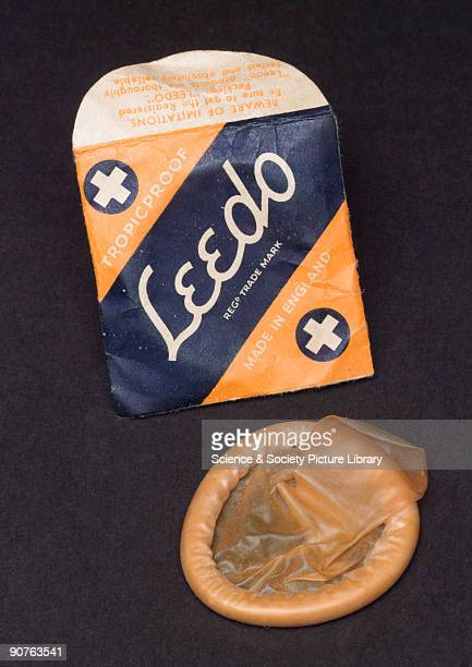 Single condom and packet, made by Leedo of England. Condoms were first used in the 16th century as a protection against syphilis. In the 21st century...