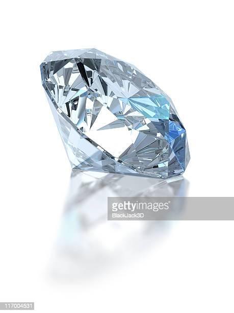 Single diamond. Isolated on white