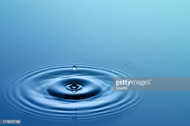 Single drop of water hitting a larger body of water