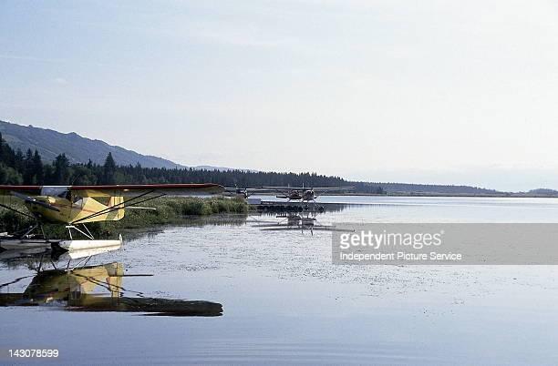 Single engine floatplanes anchored in Homer Alaska
