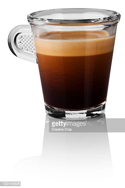 Single espresso in glass cup