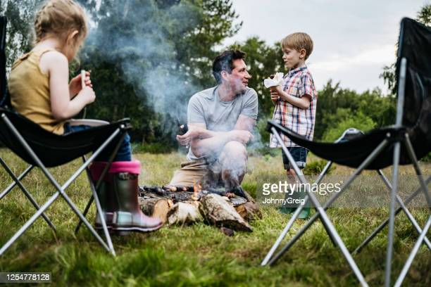 single father enjoying cookout with children on camping trip - fire natural phenomenon stock pictures, royalty-free photos & images