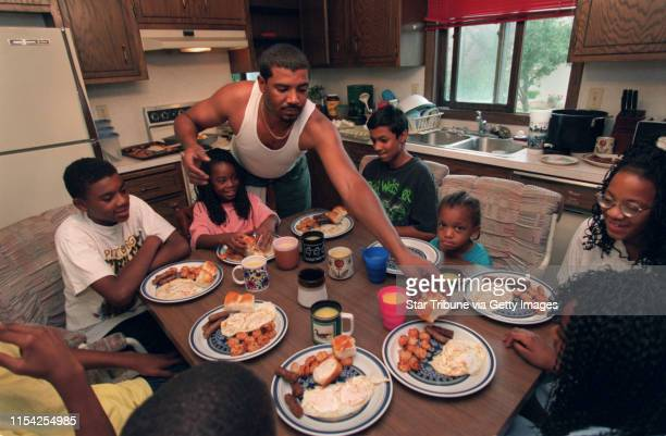 Single father of five David Calaway David Calaway serves breakfast to his five kids and three nephews his son 13yearold Jermaine Johnson his daughter...