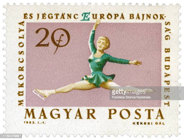 Single female figure skating. Postage stamp from the series issued by the Hungarian post office during the European figure skating championship held...