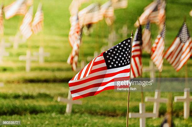 Single focus on American flag on Memorial  Day
