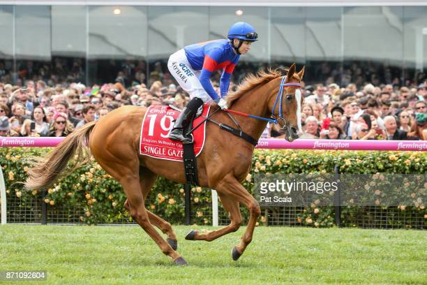 Single Gaze ridden by Kathy O'Hara heads to the barrier before the Emirates Melbourne Cup at Flemington Racecourse on November 07, 2017 in...