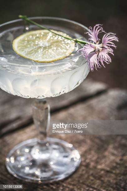 A Single Glass of Lemonade in Crystal with Fringed Pink.