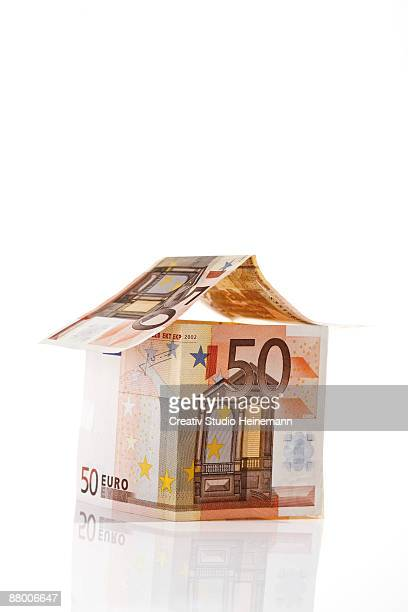 House of Euro notes on white background, close-up