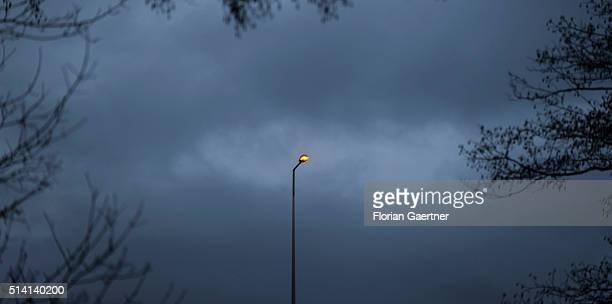 A single light stands on a bridge near the germanpolish border on February 08 2016 in Goerlitz Germany