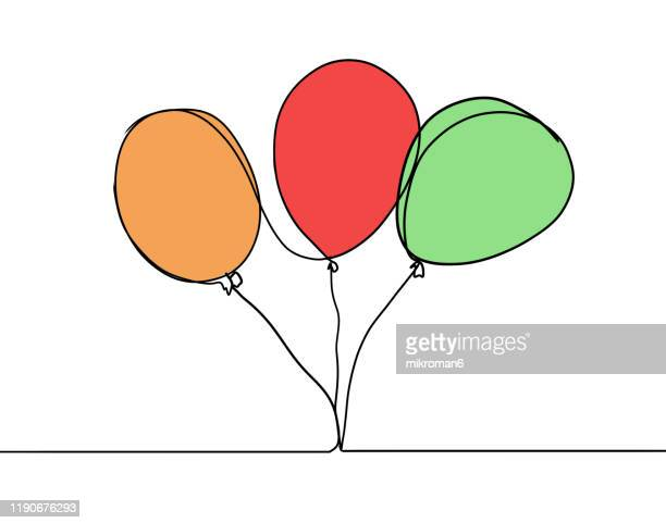 single line drawing of a ballons - balloon stock pictures, royalty-free photos & images