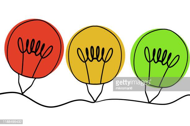 single line drawing of a christmas lights - traffic light stock pictures, royalty-free photos & images