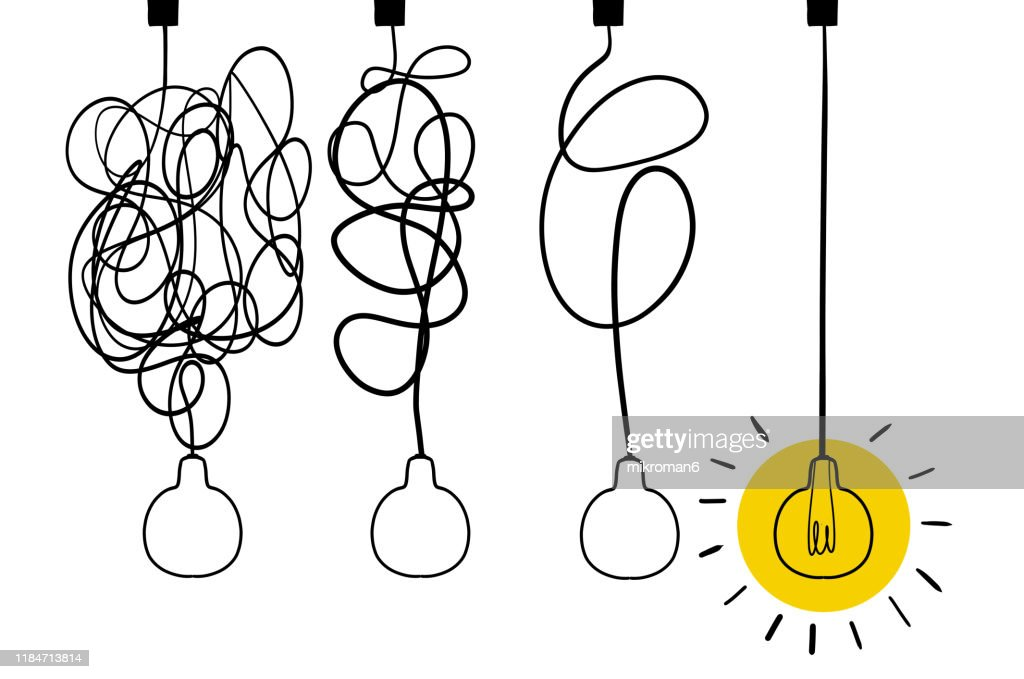 Single line drawing of a light bulb : Stock Photo
