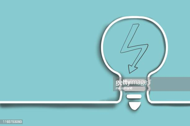 single line drawing of a light bulb with a lighting bolt - fuel and power generation stock pictures, royalty-free photos & images