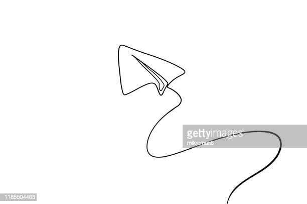 single line drawing of a paper plane - lineart stock-fotos und bilder