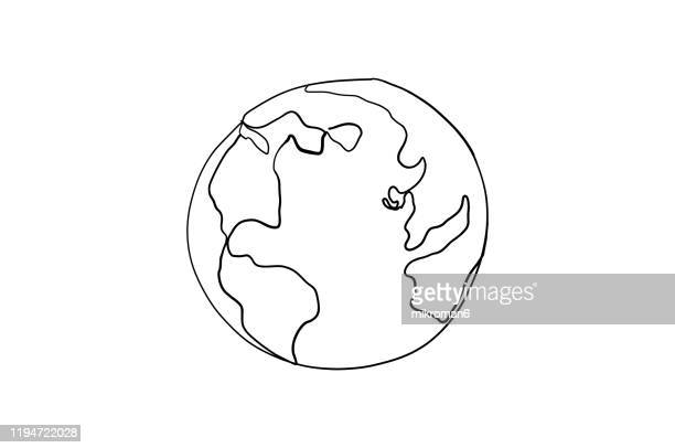 single line drawing of a planet - single object stock pictures, royalty-free photos & images