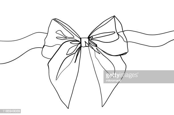single line drawing of a ribbon - drawing stock pictures, royalty-free photos & images