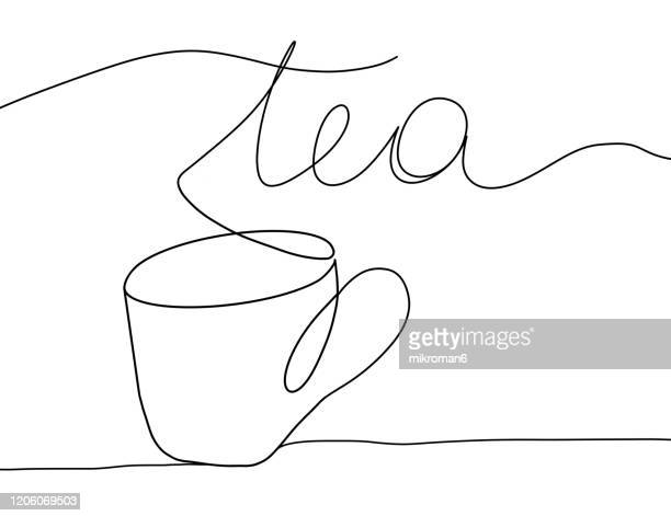 single line drawing of a tea cup - illustration stock pictures, royalty-free photos & images