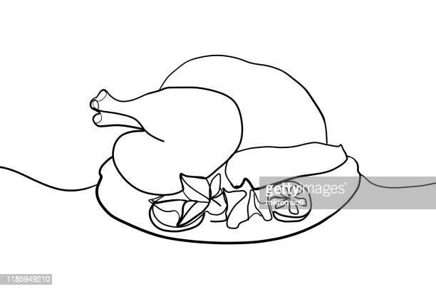 single line drawing of a thanksgiving turkey - lineart stock-fotos und bilder