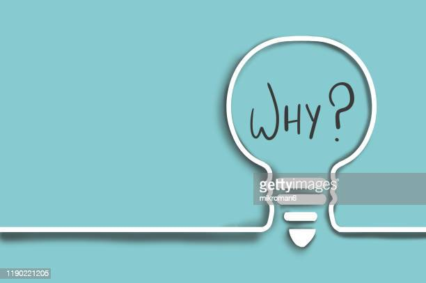 single line drawing of a why in a light bulb - q and a stock pictures, royalty-free photos & images