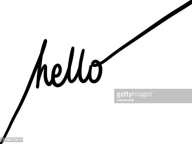 single line drawing of a word hello - greeting stock pictures, royalty-free photos & images