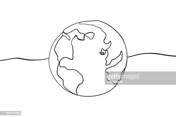single line drawing of a world - illustration stock pictures, royalty-free photos & images