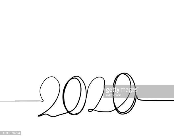 single line drawing with 2020 - 2020 stock pictures, royalty-free photos & images