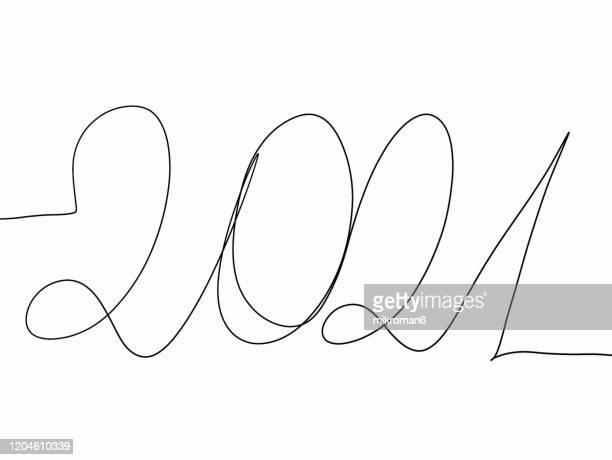 single line drawing with 2021 - nieuwjaarsreceptie stockfoto's en -beelden
