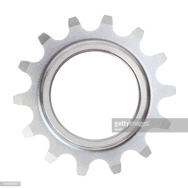 A single metal cog on a white background