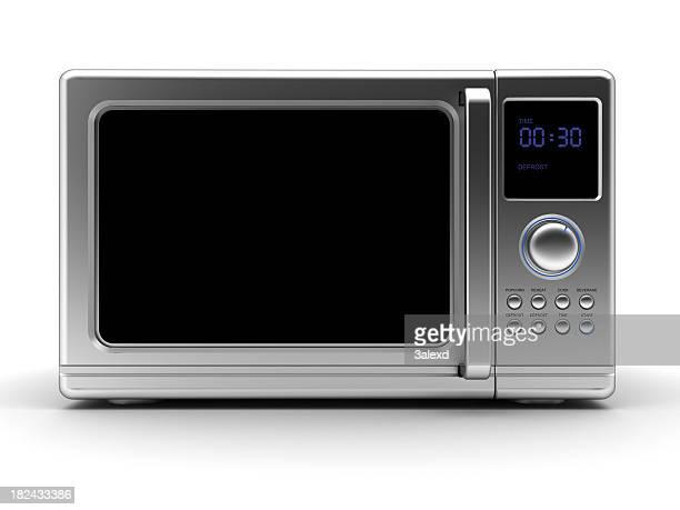 Single metallic gray microwave with black elements