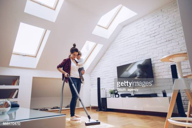 Single mother cleaning