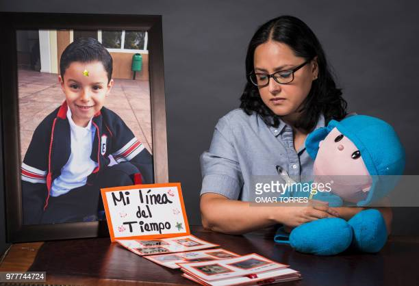 TOPSHOT Single mother Miriam Rodriguez Guise who lost her 7yearold son Jose Eduardo in the earthquake of September 19 in a photograph on June 15 2018...