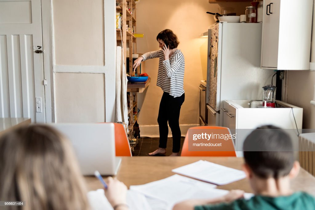 Single mother working from home with children. : Stock Photo