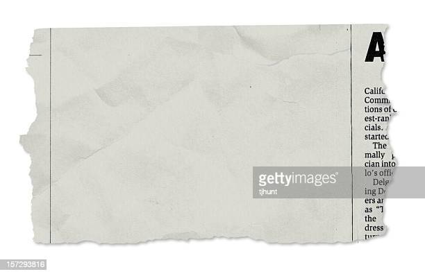 single newspaper tear - on white - printout stock pictures, royalty-free photos & images