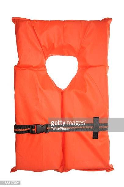 A single orange life vest on a white background