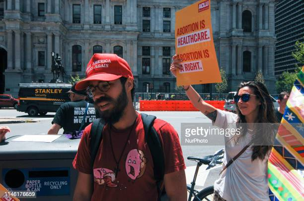 """Single Pro-Trump, Anti-Abortion extremist is shouted down and shooed away during a """"Stop the Bans"""" rally across from City Hall in Center..."""