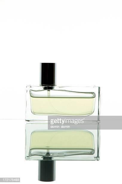 Single rectangular perfume bottle isolated on white, studio shot