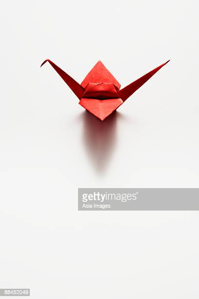 single red paper crane