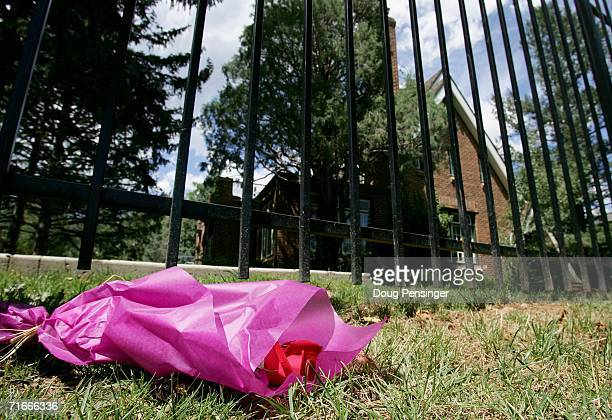 A single red rose lays near the entrance to the residence at 749 15th Street where JonBenet Ramsey was murdered in December August 17 2006 in Boulder...
