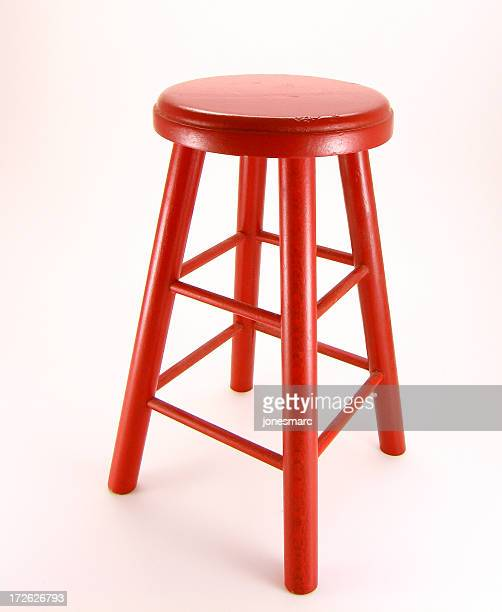 a single red stool on a white background - stool stock pictures, royalty-free photos & images